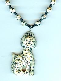 Carved Dalmatian Jasper Dalmatian Pendant Necklace