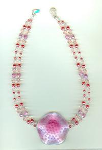 Pink Lampwork Focal and Double-Strand Necklace