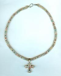Sterling Silver Multi-Gem Cross and Needlewoven Strand
