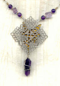 Wirewrapped Amethyst Point Faerie Pendant Necklace
