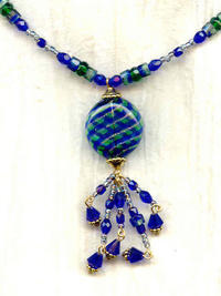 Emerald, Cobalt and Gold Blown Venetian Glass Focal Tassel Necklace