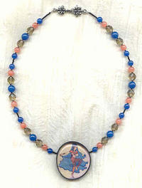 TINY DANCER: Ivory Image Pendant Necklace with Semi-Precious Beads