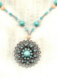 Vintage Art Deco Turquoise and Peach Silver Tone Pendant Necklace