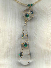 Pendant Necklace Vintage Emerald Crystal Studded Lucite