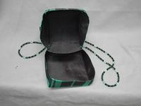 Gift Box Shoulder Bag: Emerald and Black Taffeta Plaid, Beaded Strap