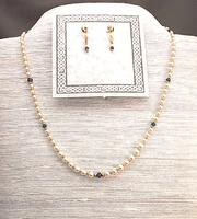 SEPTEMBER LADY: Sapphire and Crystal Pearl Necklace and Earrings Set