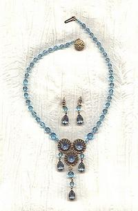 Vintage West German Aqua Crystal Fringed Pendant Necklace and Earrings