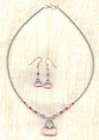 Pink Crystal Handbags Pendant Necklace and Earrings Set