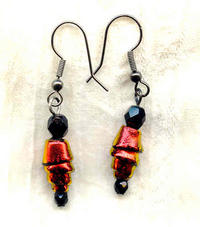 Deep Red and Jet Black Dichroic Glass Wound Bead Jewelry Set