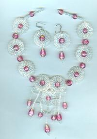 MAYTIME: Intricate Beadwork Rose and Crystal Feminine Jewelry Set