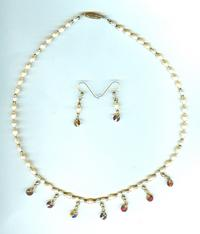 Freshwater Pearl, Vintage Madeira Topaz Crystal Necklace and Earrings