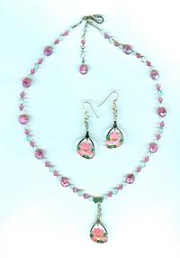 Vintage Rose Pink Floral Intaglio Glass Necklace and Earrings Set