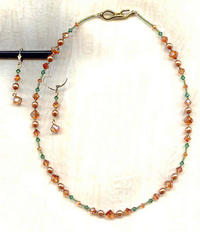 Fiery Chili Pepper and Pine Green Swarovski Crystal Jewelry Set