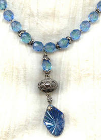 Vintage Teal Glass Victorian Style Pendant Necklace and Earrings Set