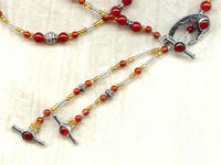 Carnelian and Sterling Silver Lariat Necklace and Earrings Set