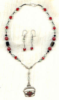Red and Jet Edwardian Style Pendant Necklace and Earrings Set
