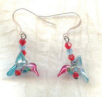 Handcrafted Colourful Lampwork Hummingbirds Necklace and Earrings Set