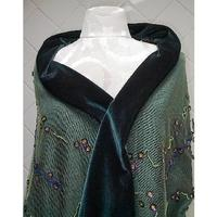 Forest Green Velvet Shawl Wrap: Beads, Sequins, Fringe