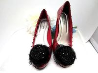 Burgundy Pumps Patent with Jet Beaded Pompom - Size 7-1/2