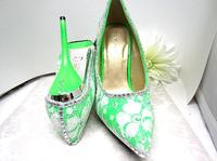 Bright Green Pumps White Lace Covered Square Stone Studded Size 8-1/2
