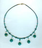 Statement Necklace Green Onyx Pendants and Teal Crystal Beads
