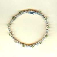 Sterling Silver Bracelet Hand Set with Faceted Peridot Gemstones