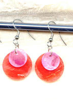 Crimson and Plum Shell Double Disc Easy Wear Summer Earrings