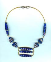 Cobalt and Copper Unique Beaded Trendy Necklace