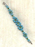 Turquoise Swarovski Crystal and Peridot Hand Beaded Bracelet
