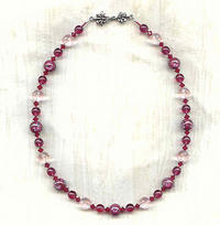 Sweeter Than Wine: Vintage Lampwork Glass, Pale Pink Crystal Necklace